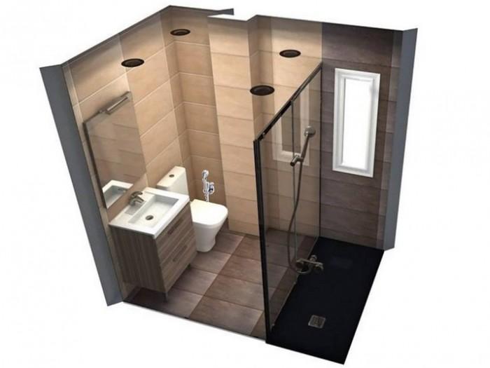 Primer proyecto de reforma de baño con renders realistas en 3D que muestran la distribución del baño y los colores aproximados de los azulejos