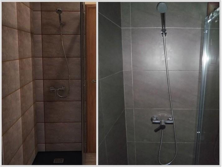 Grifo de ducha antes con el render 3d y después el original