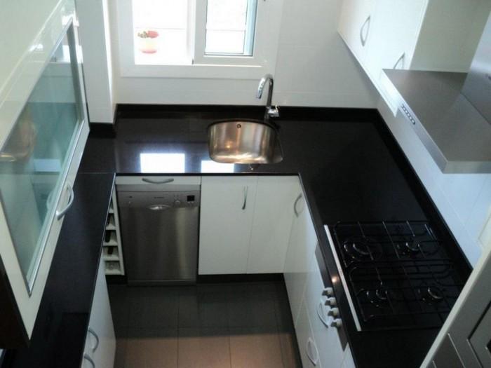 Galer a de cocinas cocinas franc Cocina blanca encimera granito negra